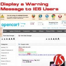 Prikaži poruku upozorenja za IE6 korisnike za OpenCart v.1.5.0.x & 1.5.1.x